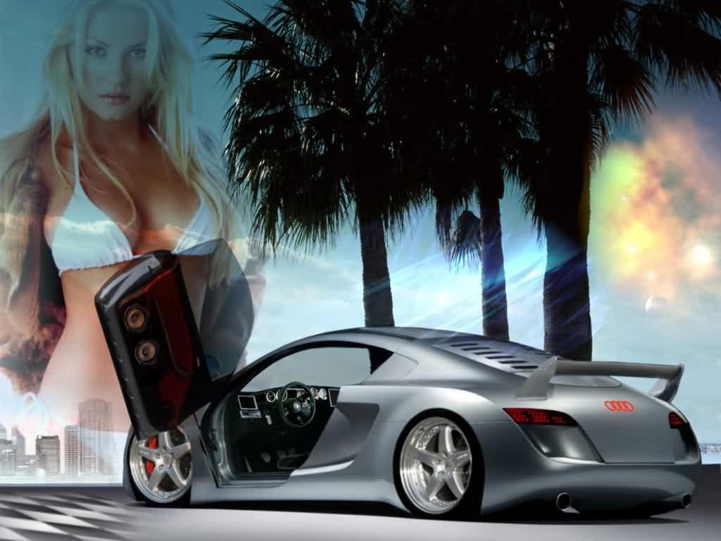 Картинка, Новая Audi на фоне девушки - обои для рабочего стола, обои